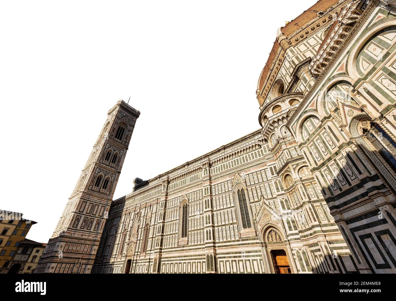 Florence Cathedral isolated on white background. Duomo of Santa Maria del Fiore and bell tower of Giotto (Campanile). Tuscany, Italy, Europe. Stock Photo