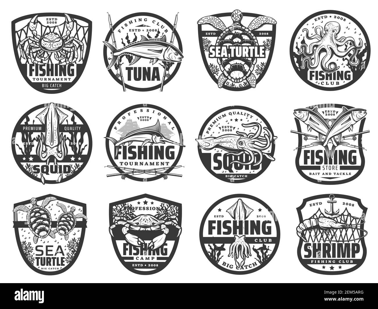 Fishing sport and hobby vector icons. Isolated fisherman tournament labels with crab and squid, sea turtle and octopus, marlin fish and underwater sea Stock Vector