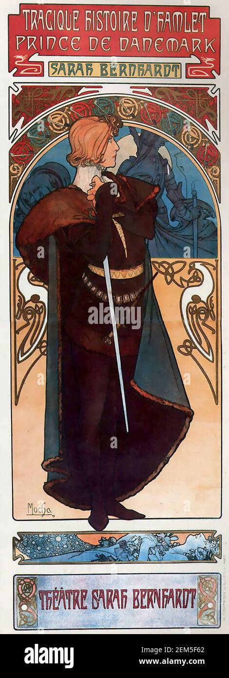 Alphonse Mucha, advertising poster for Hamlet with Sarah Bernhardt, colour lithograph, 1904.  Alfons Maria Mucha (1860 -1939) was a Czech Art Nouveau painter, illustrator and graphic artist, Stock Photo