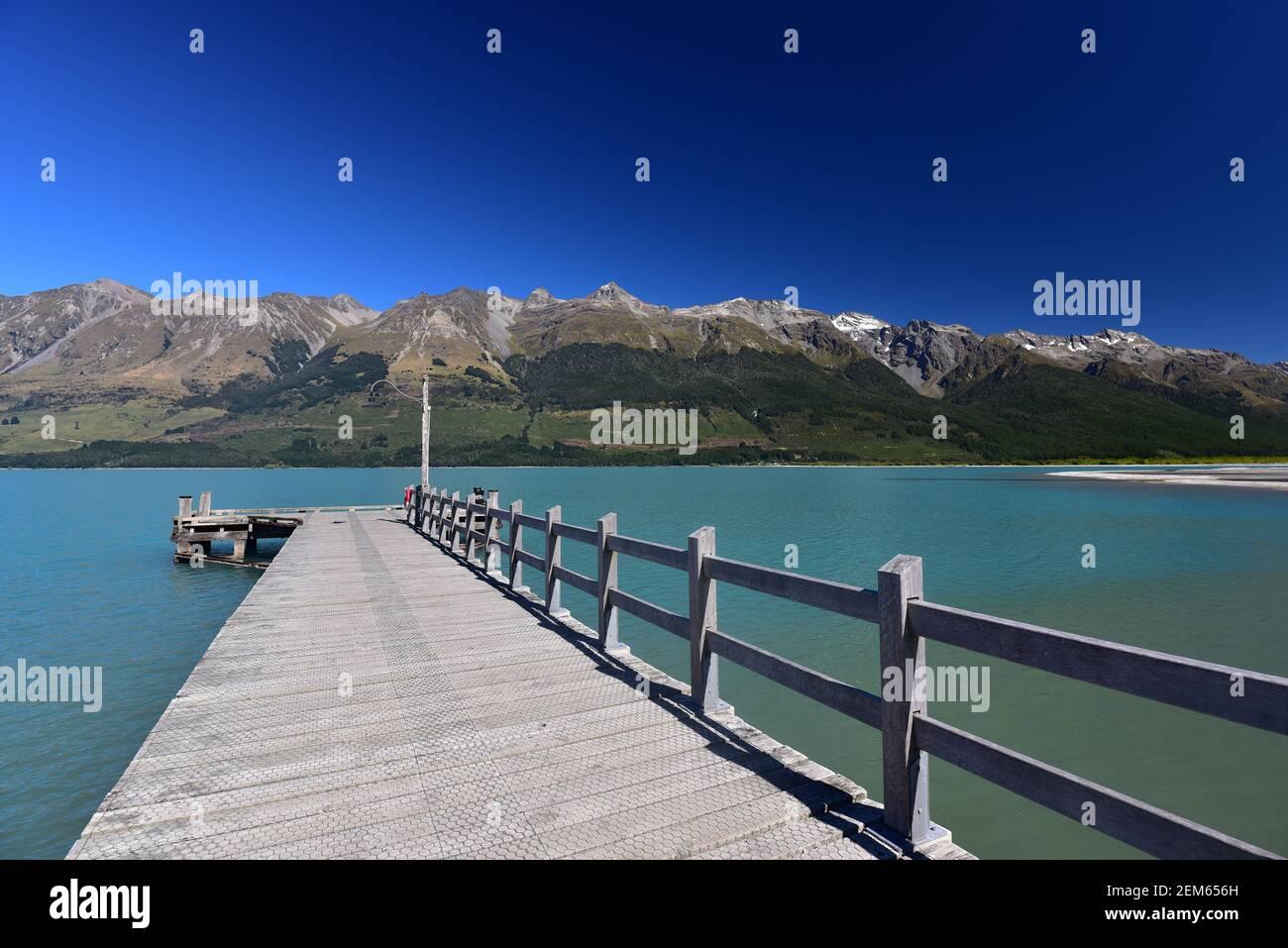 Lake Wakatipu jetty in Glenorchy near Queenstown, New Zealand Stock Photo