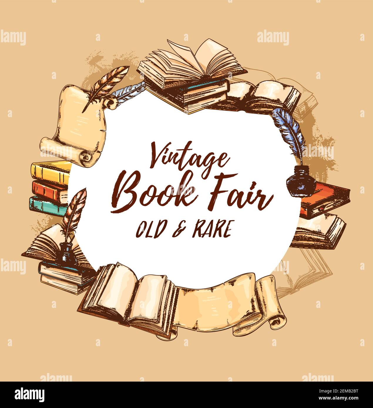 Bookstore poster, vintage books fair and rare literature festival. Vector retro sketch book store edition, antiquarian poems and novels, paper scrolls Stock Vector