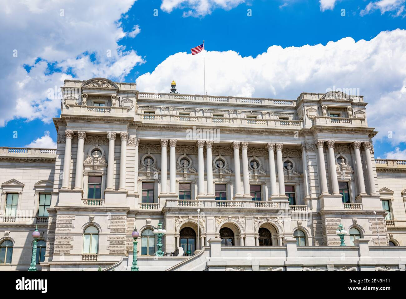 Exterior of the Library of Congress Thomas Jefferson Building on Capitol Hill in Washington, DC Stock Photo