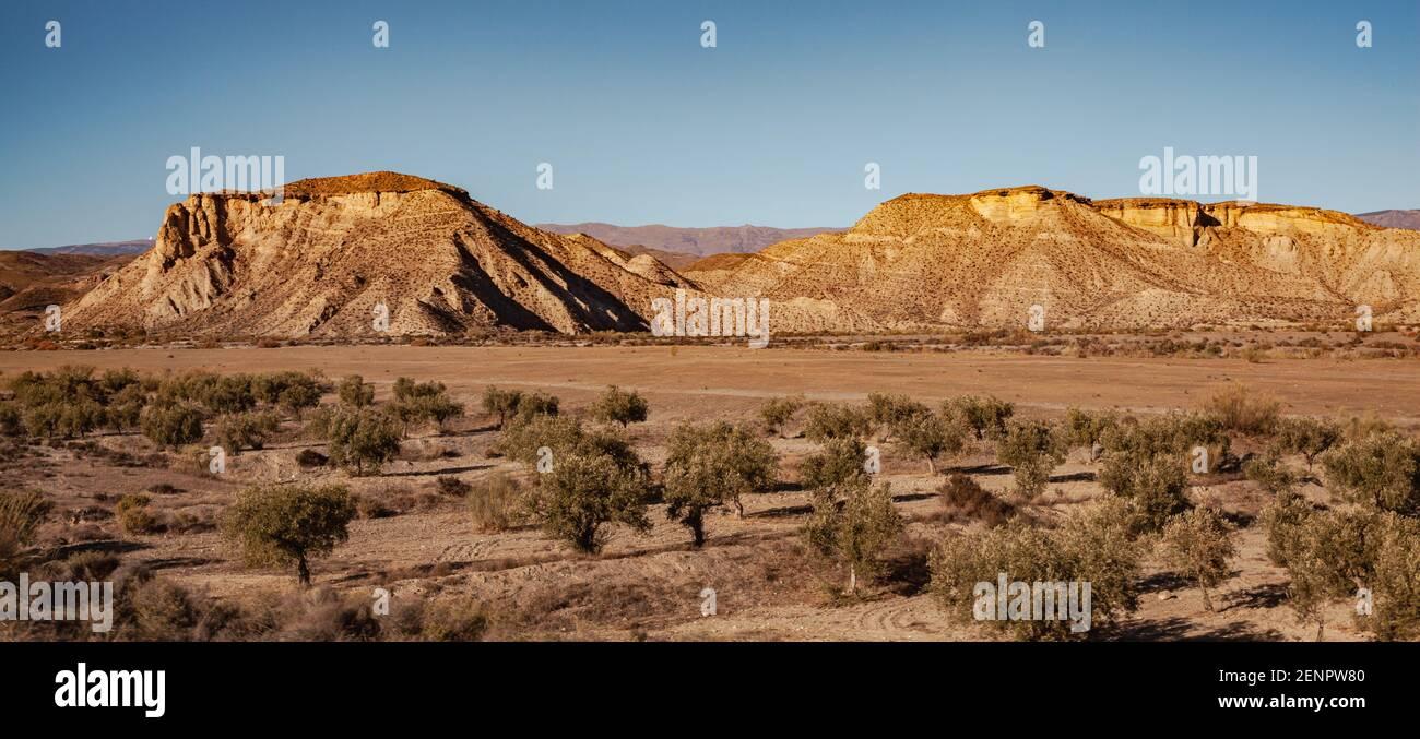 Wide landscape of the Tabernas desert Almeria Spain Nature Adventure Travel Europa Stock Photo
