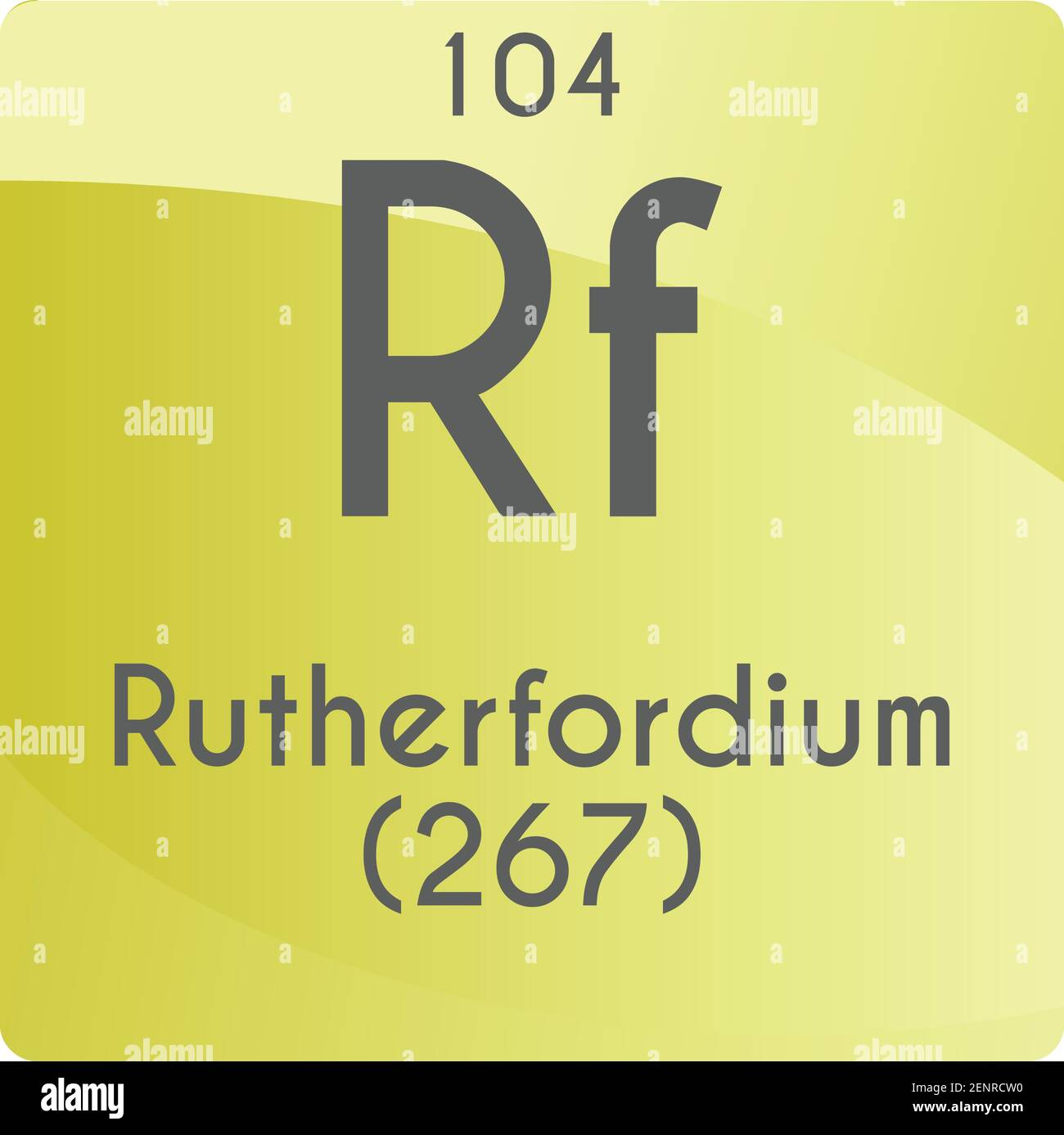 Rf Rutherfordium Transition metal Chemical Element vector illustration diagram, with atomic number and mass. Simple gradient flat design For education Stock Vector