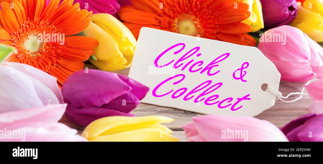 Click and Collect Blumen und Label Stock Photo
