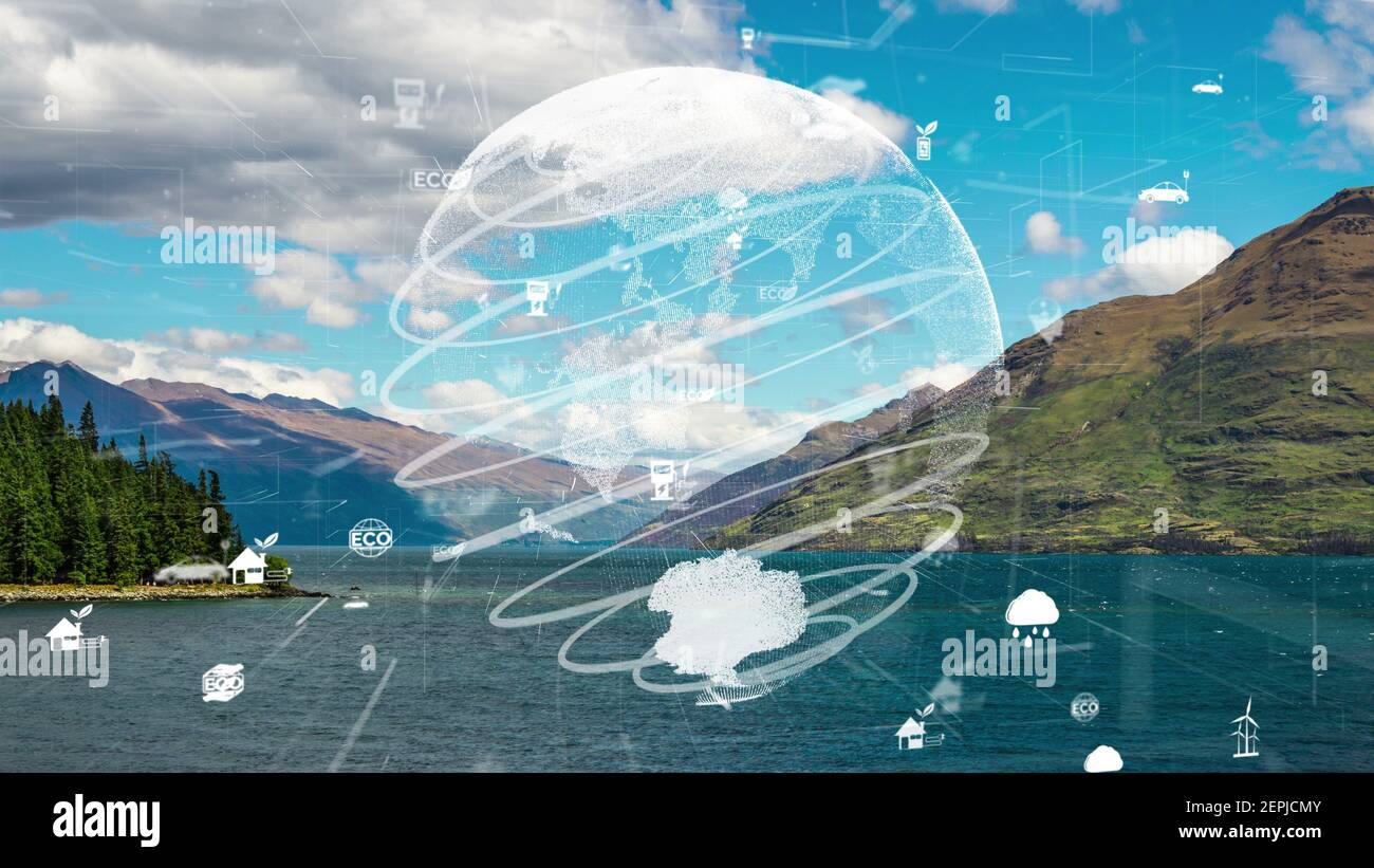 Future environmental conservation and sustainable ESG modernization development by using technology of renewable resources to reduce pollution and Stock Photo