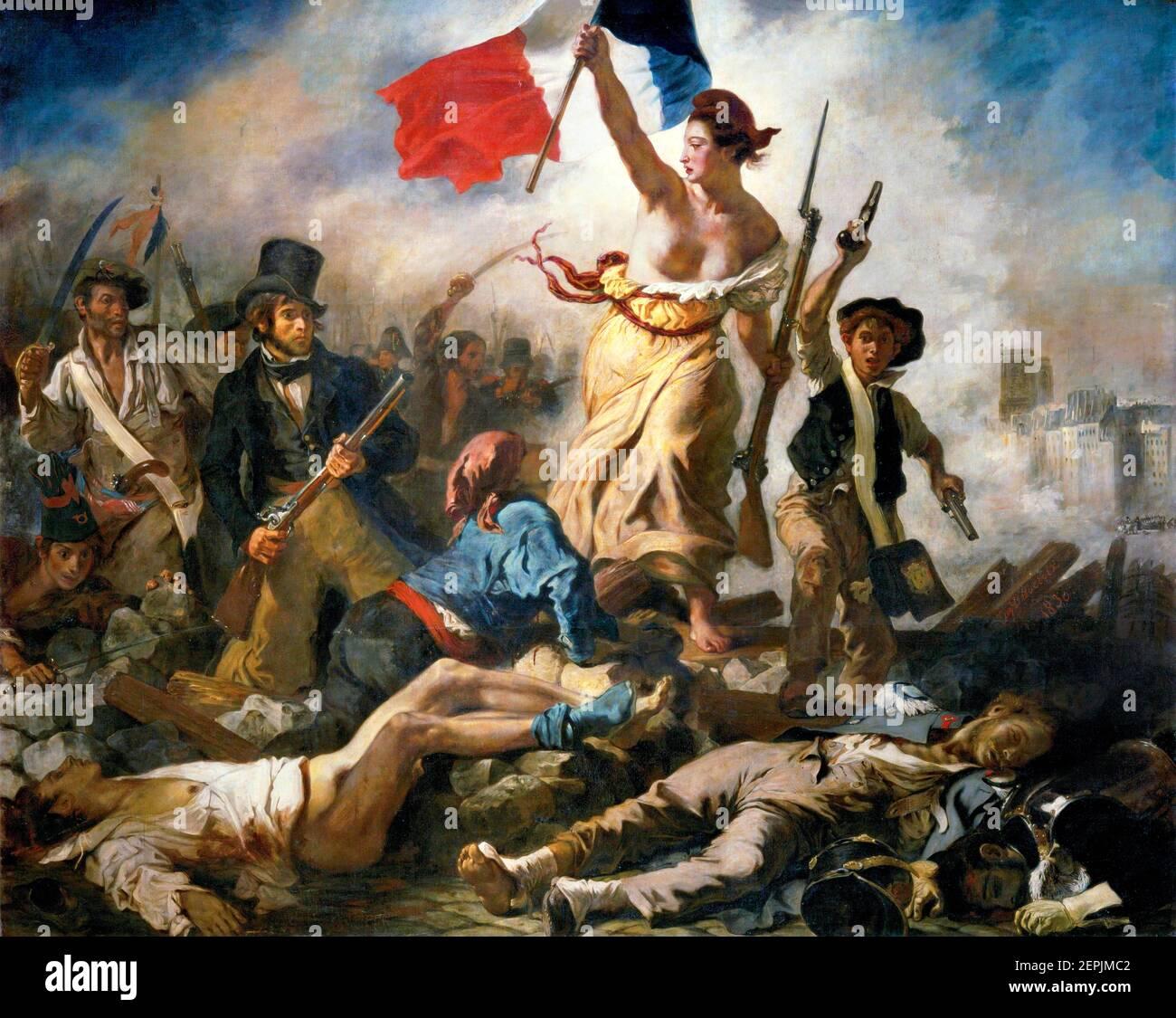 """Delacroix, Liberty Leading the People. """"La Liberté guidant le peuple"""" by Eugène Delacroix (1798-1863), oil on canvas, 1830 Stock Photo"""