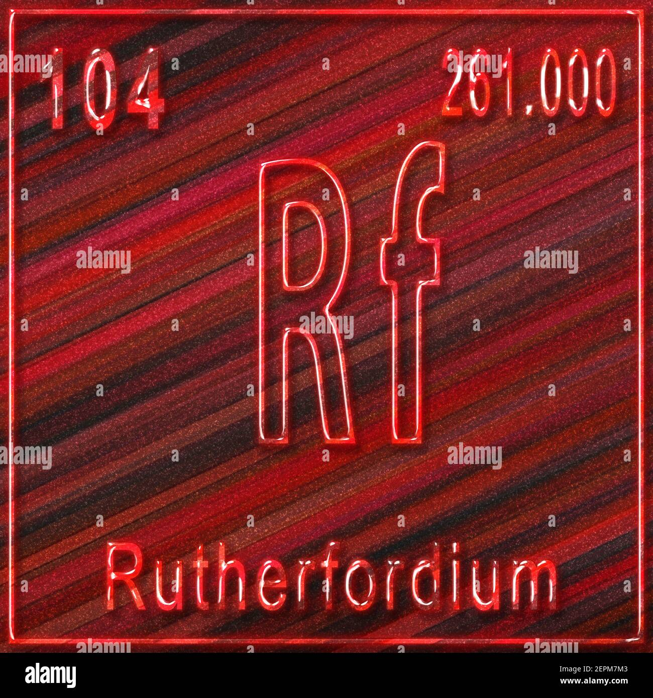 Rutherfordium chemical element, Sign with atomic number and atomic weight, Periodic Table Element Stock Photo