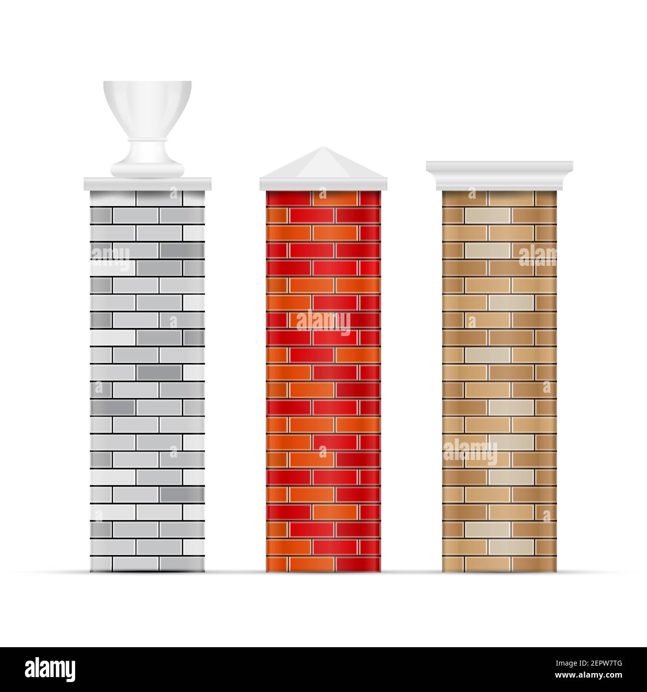 Brick fence posts with caps. 3D vector illustration isolated on white. Stock Vector