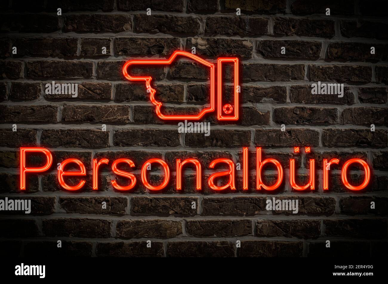Detail photo of a neon sign on a wall with the inscription Personalbüro (Personnel office) Stock Photo
