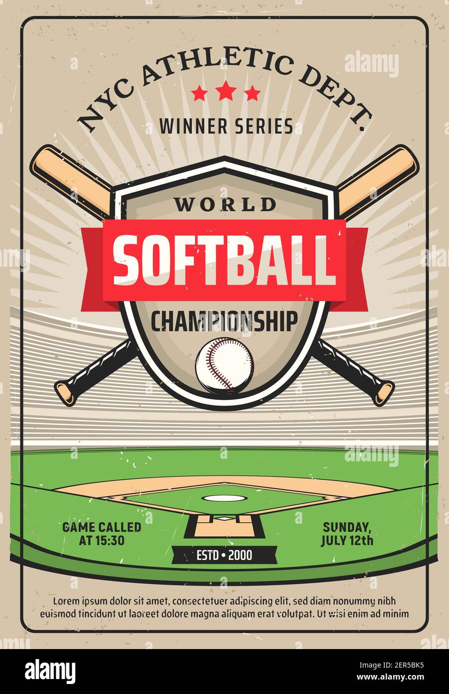 Softball championship grunge vector flyer, sport game tournament. Crossed baseball bats, ball and shield on softball field. Nyc athletic dept game win Stock Vector