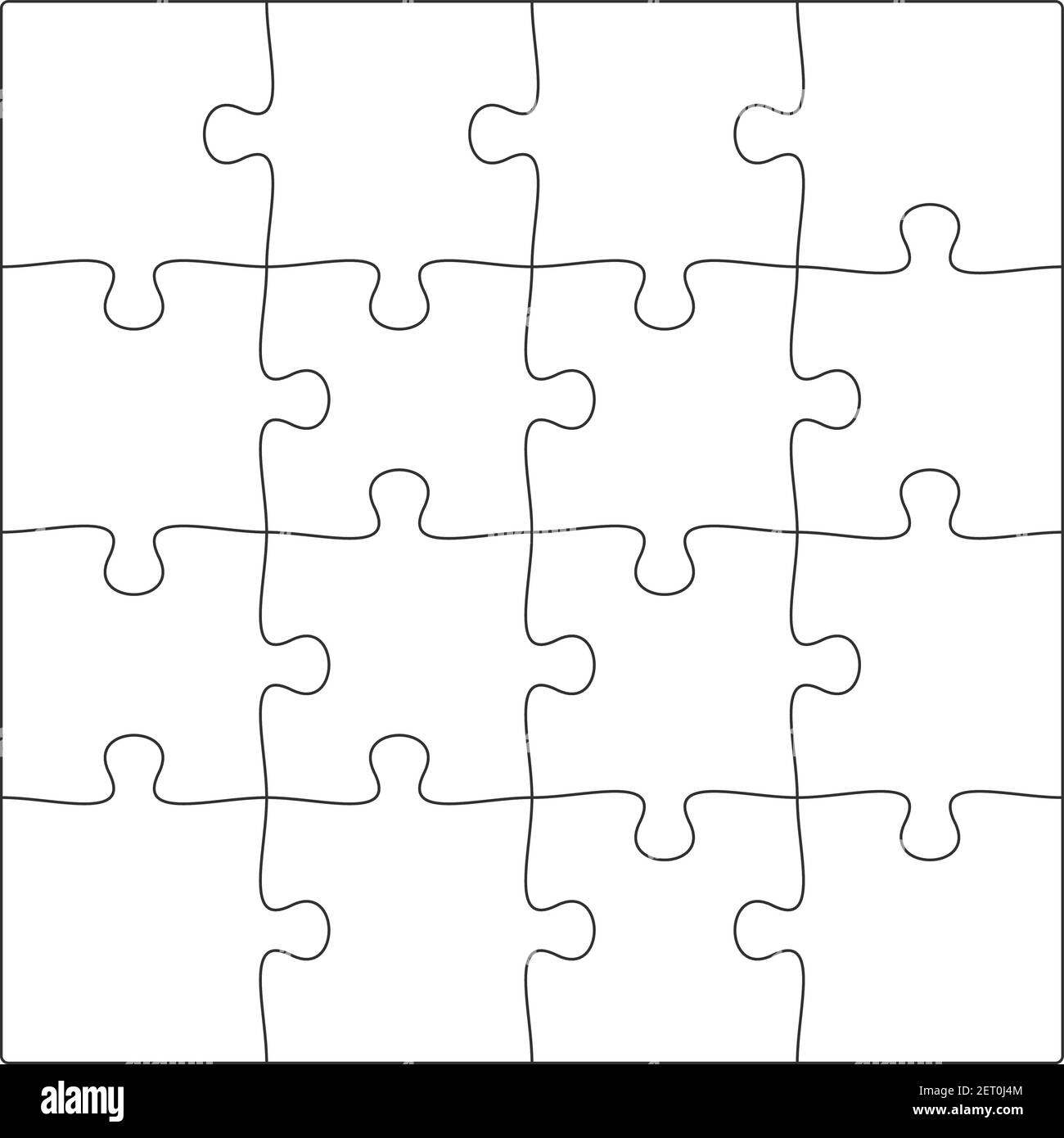 Blank Jigsaw Puzzle Pieces Black and White Stock Photos & Images In Blank Jigsaw Piece Template