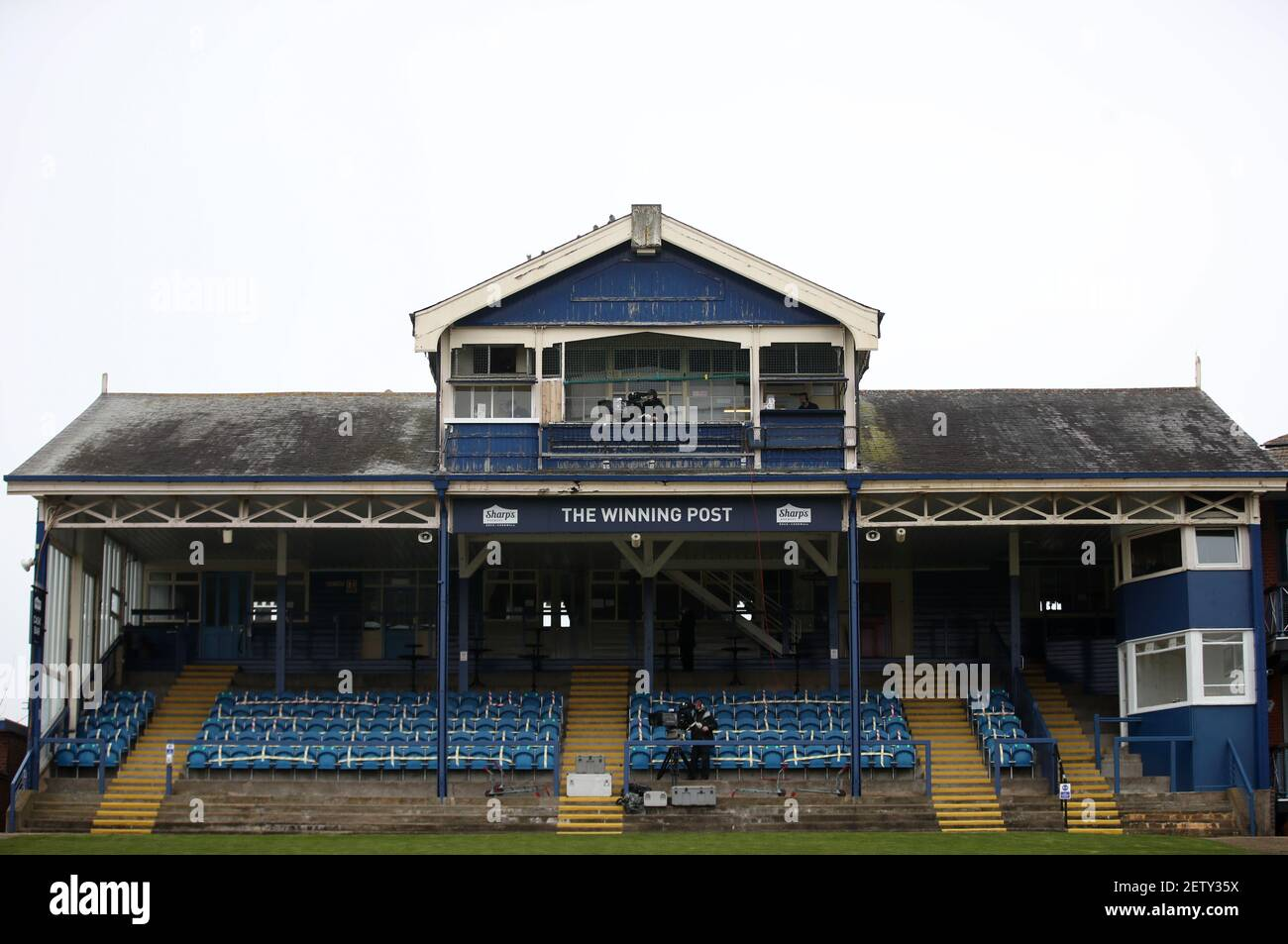 A general view of the grandstand with seats taped shut for social distancing at Leicester Racecourse. Picture date: Tuesday March 2, 2021. Stock Photo