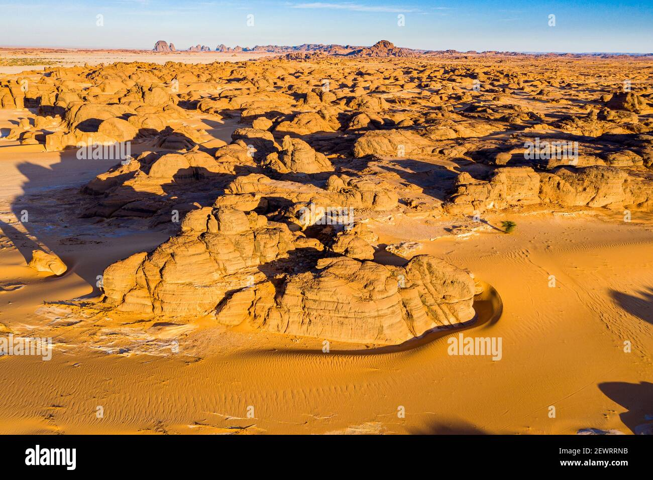 Aerial of beautiful rock formations in the Djado plateau, Tenere Desert, Sahara, Niger, Africa Stock Photo