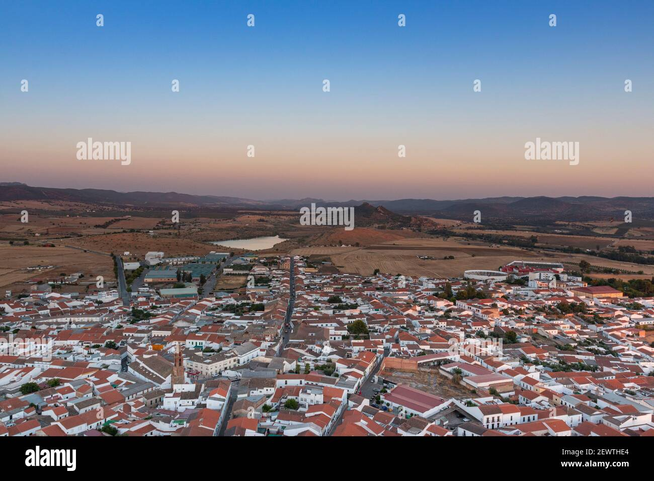 Small Andalusian town in southern Spain photographed from the top of a mountain Stock Photo