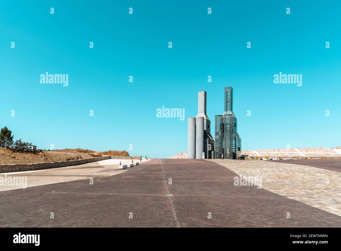 Santiago de Compostela, Spain - July 18, 2020: View of City of Culture of Galicia. Situated on the top of mount Gaias as a architectural milestone. De Stock Photo