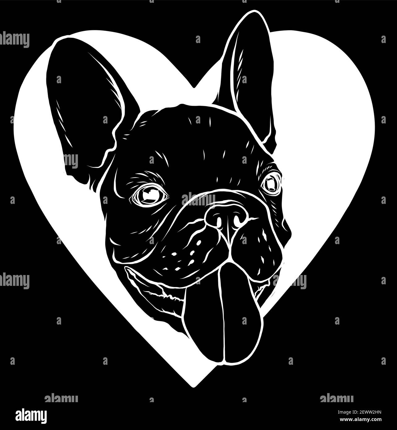 silhouette Cute puppy pug on a black background wants to play Stock Vector