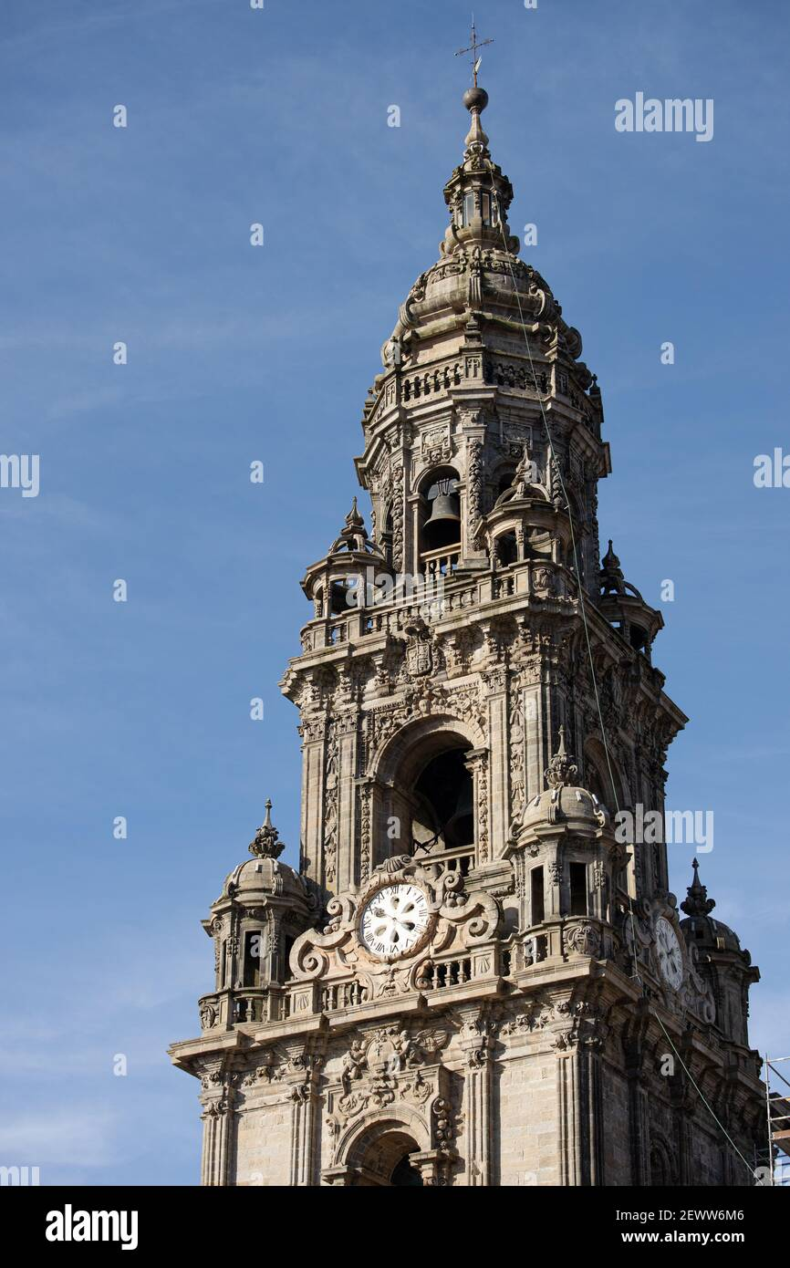 Berenguela or Clock tower of Santiago de Compostela cathedral on sunny day Stock Photo