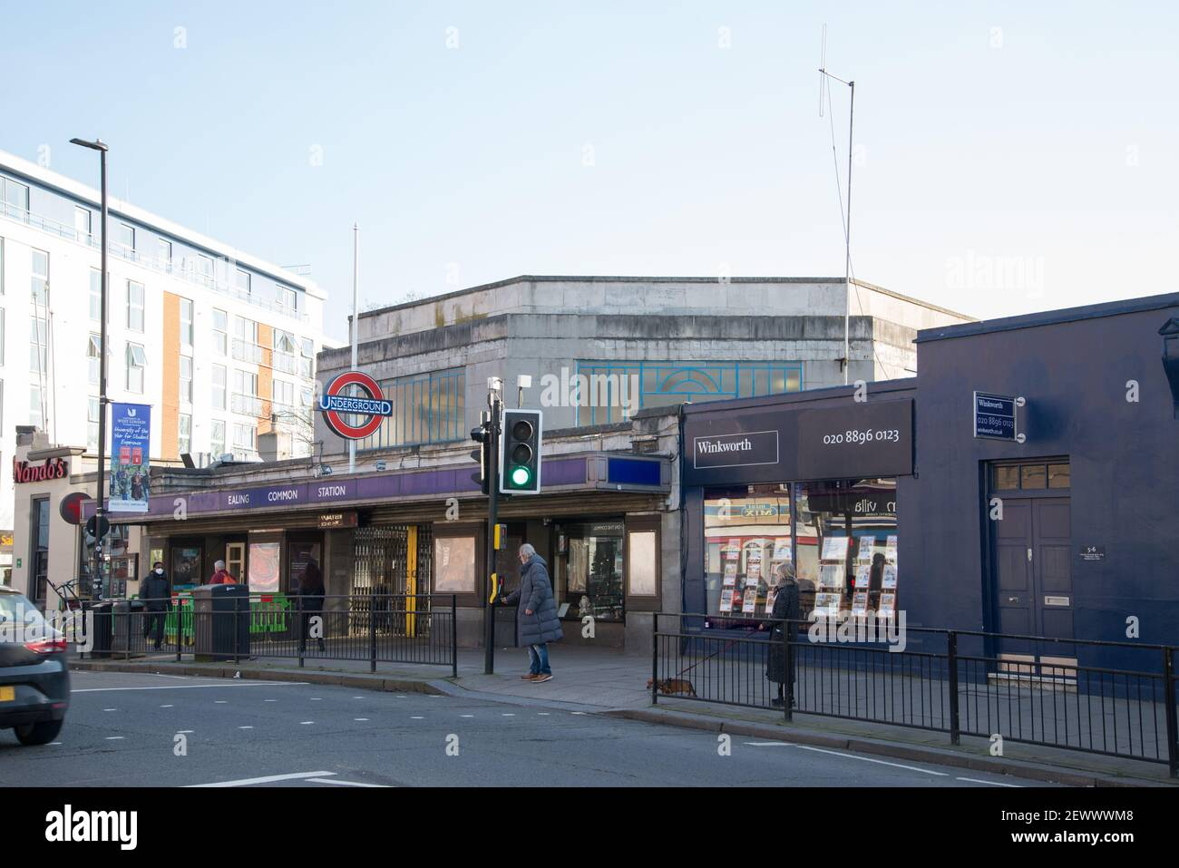 Ealing Common Underground Tube Station Art Deco Architecture by Charles Holden Stock Photo