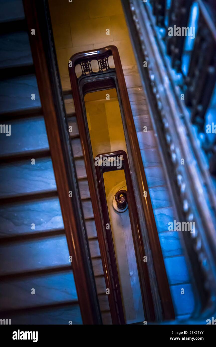 Looking down a staircase, Wisconsin State Capitol, a Beaux-Arts building completed in 2017, Madison, Wisconsin, USA Stock Photo