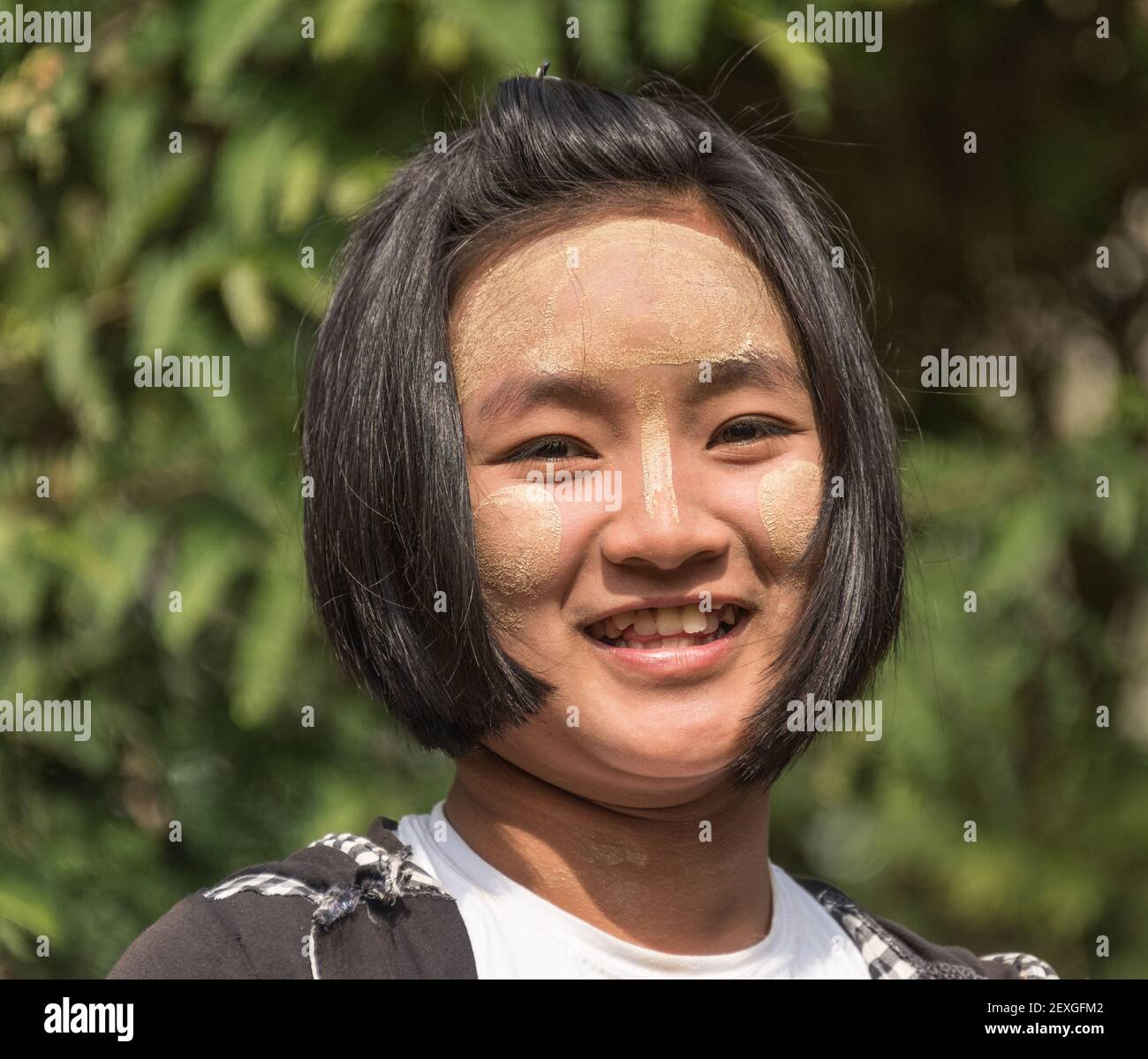 Portrait of young girl in Myanmarvillage Stock Photo