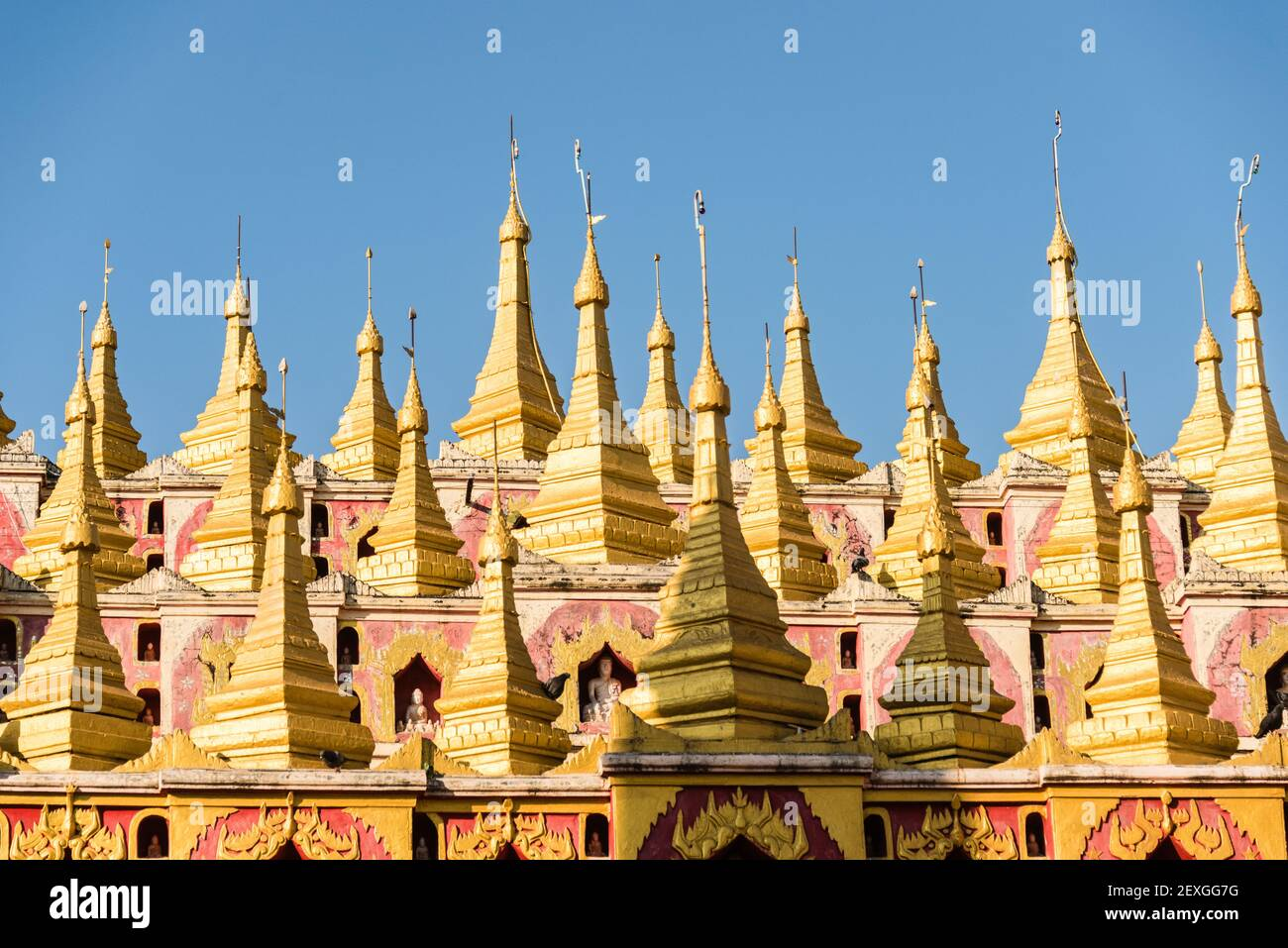 Exterior of the Moe Hnyin Than Boaddai Temple in Monywa, Myanmar Stock Photo