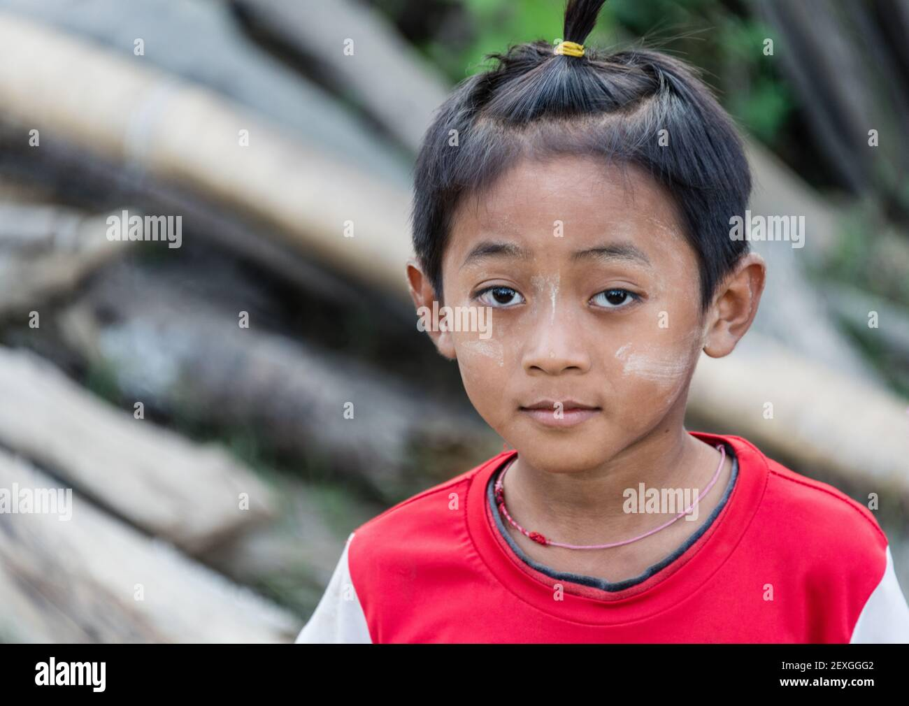 Portrait of village people, Myanmar Stock Photo