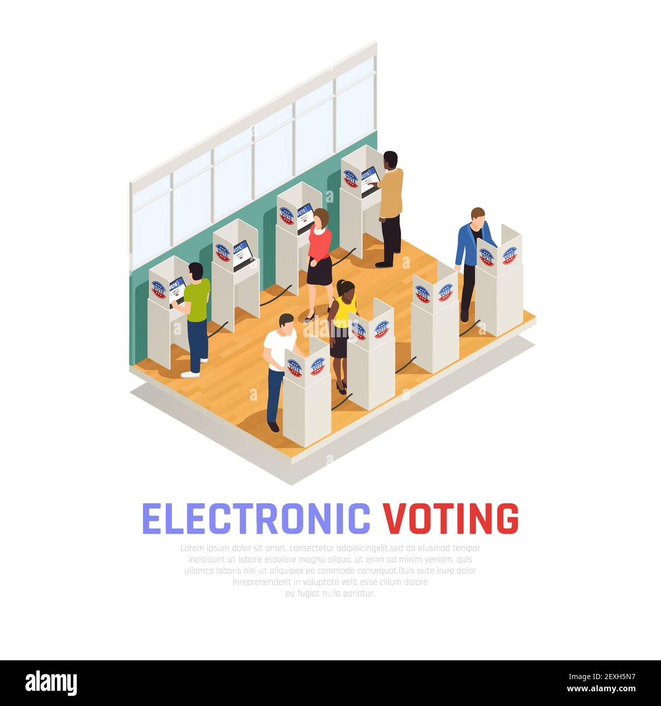 Elections and voting isometric composition with electronic elections symbols vector illustration Stock Vector
