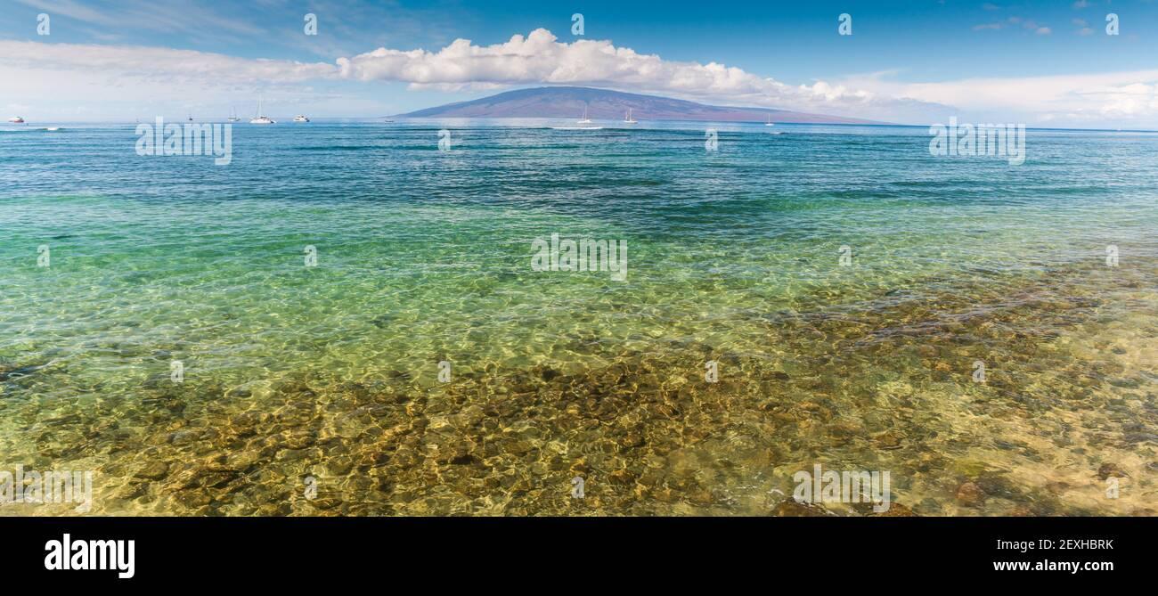 The Island of Lanai Across the Clear Water of Lahaina Bay, Lahaina, Maui, USA Stock Photo