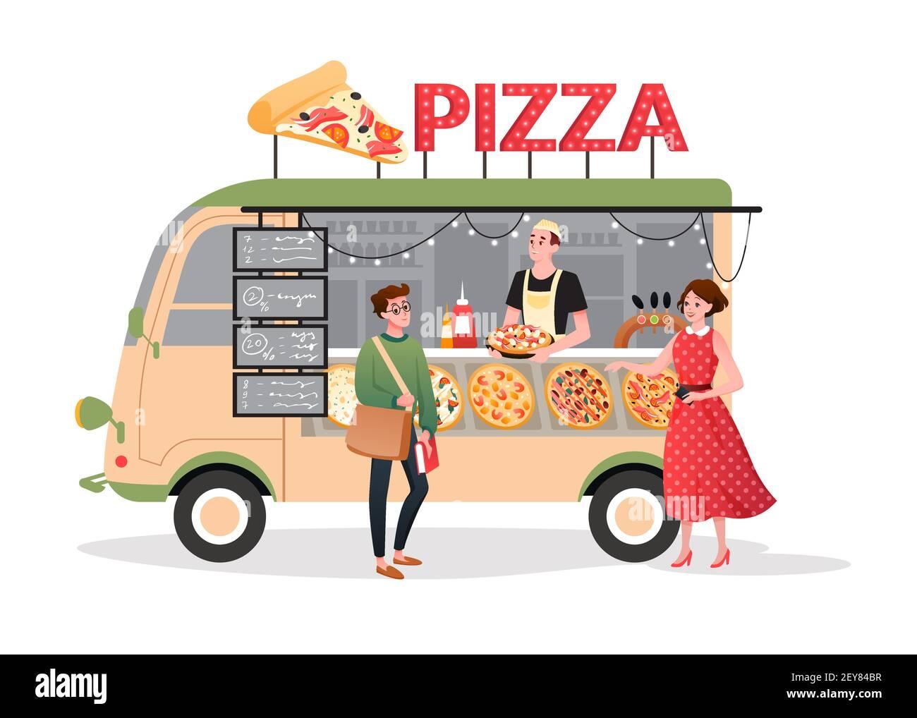 Pizza street market food truck, mini pizzeria restaurant mobile shop in van bus foodtruck Stock Vector