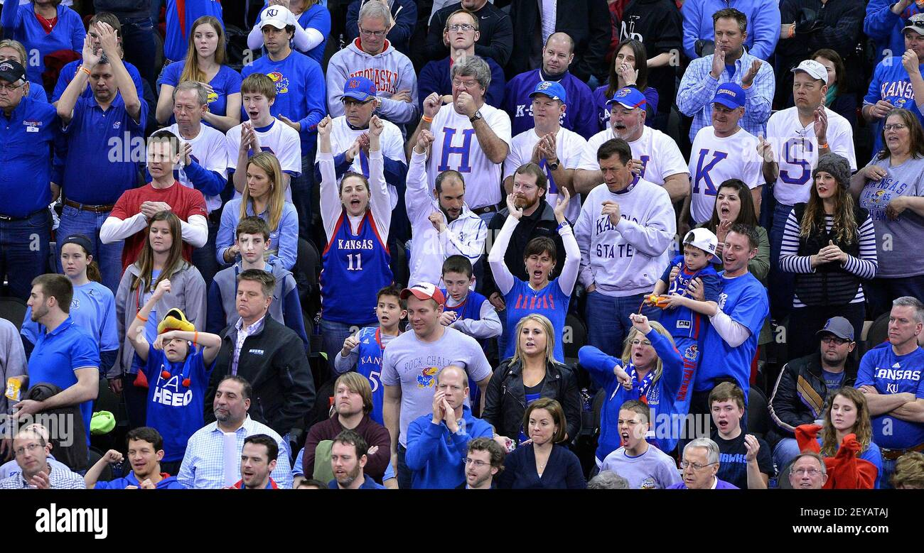Kansas fans cheer as the team comes back near the end of the first half against Western Kentucky in the second round of the NCAA Tournament at the Sprint Center in Kansas City, Missouri, on Friday, March 22, 2013. (Photo by John Sleezer/Kansas City Star/MCT/Sipa USA) Stock Photo