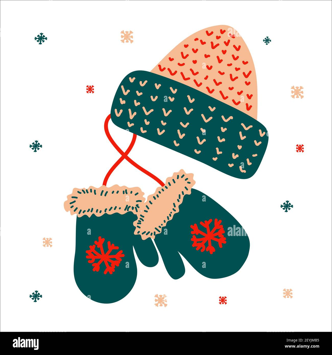Christmas traditional hat and mitten for gifts in scandinavian hand drawn style. Vector illustration, one simple bright object, square format. Suitabl Stock Vector