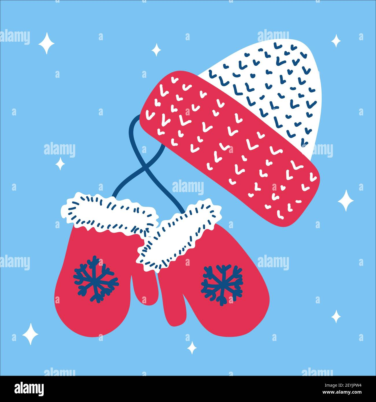 Christmas traditional pink hat and mitten mittens with snowflakes in scandinavian hand drawn style on a blue background. Vector illustration, square f Stock Vector