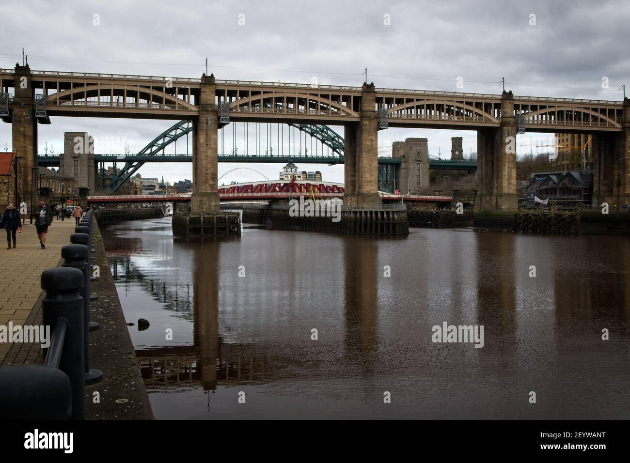 The High Level Bridge is a road and railway bridge spanning the River Tyne between Newcastle upon Tyne and Gateshead in North East England. Stock Photo