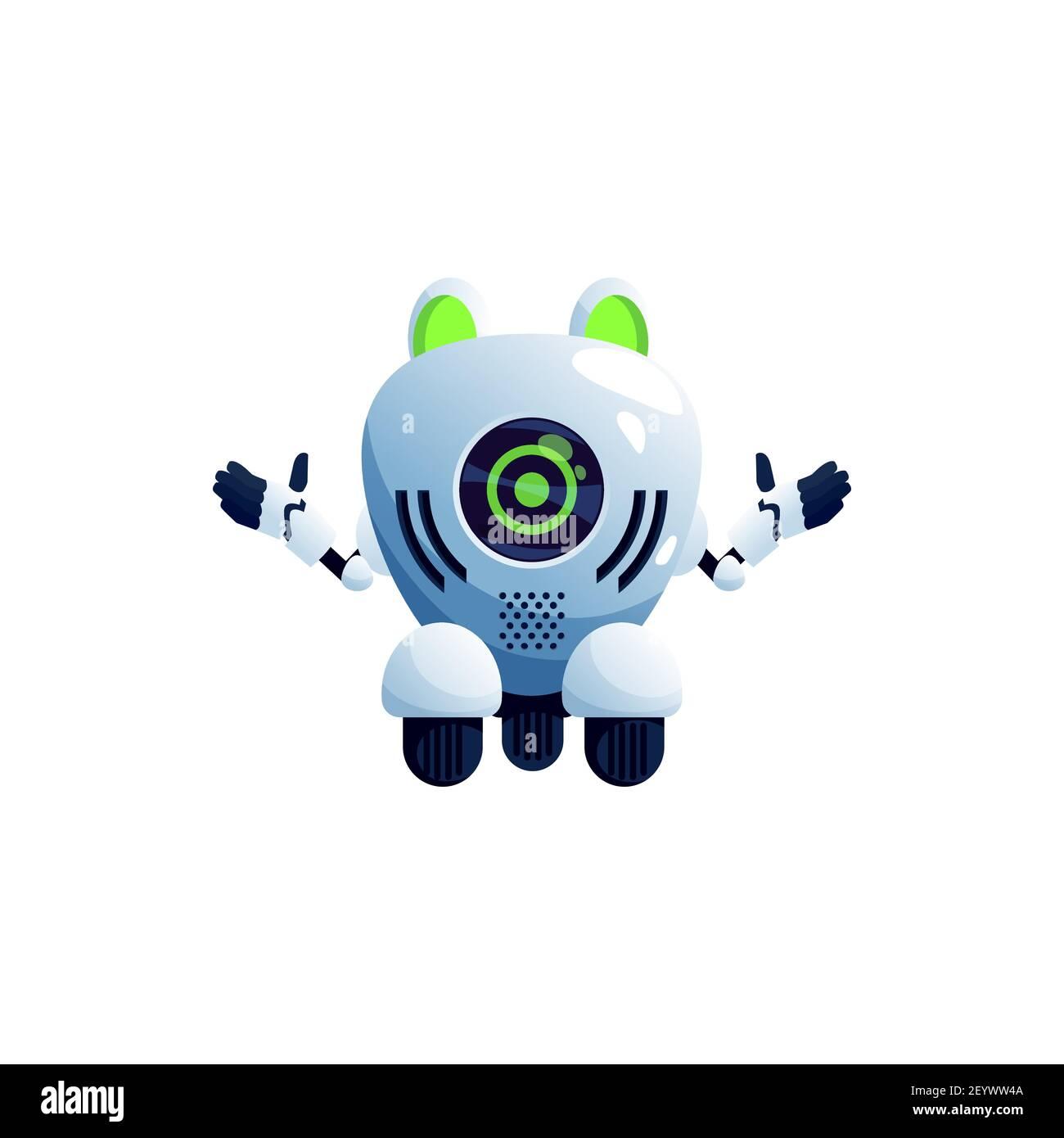 Robot animal frog pet isolated cyborg toy with big green eyes on ...