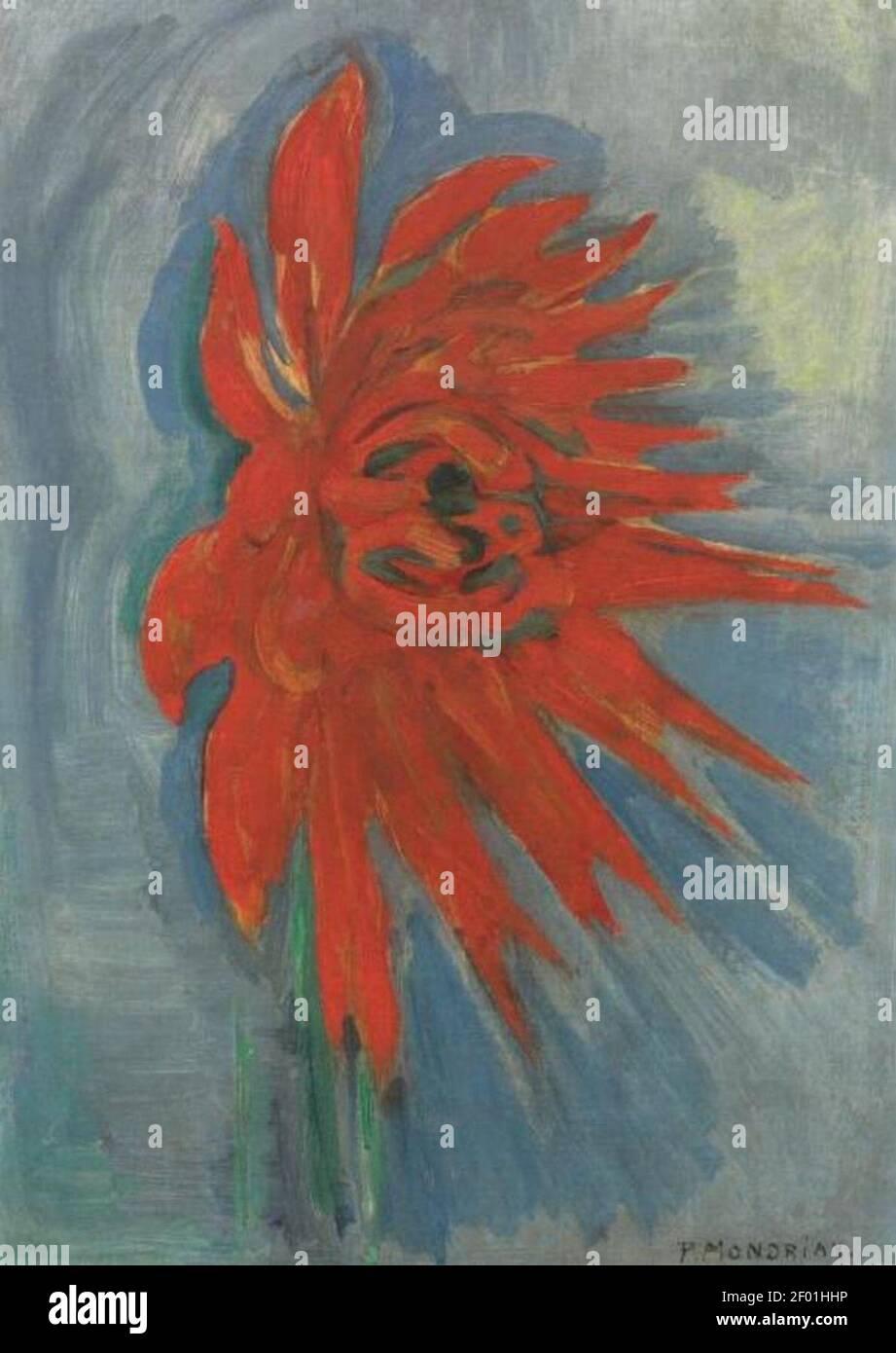 Piet Mondriaan - Red chryanthemum on blue background - Stock Photo