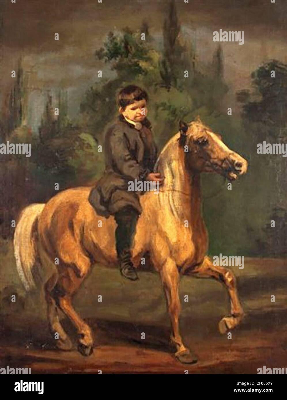 Piotr Michałowski - Chłopiec na koniu. Stock Photo