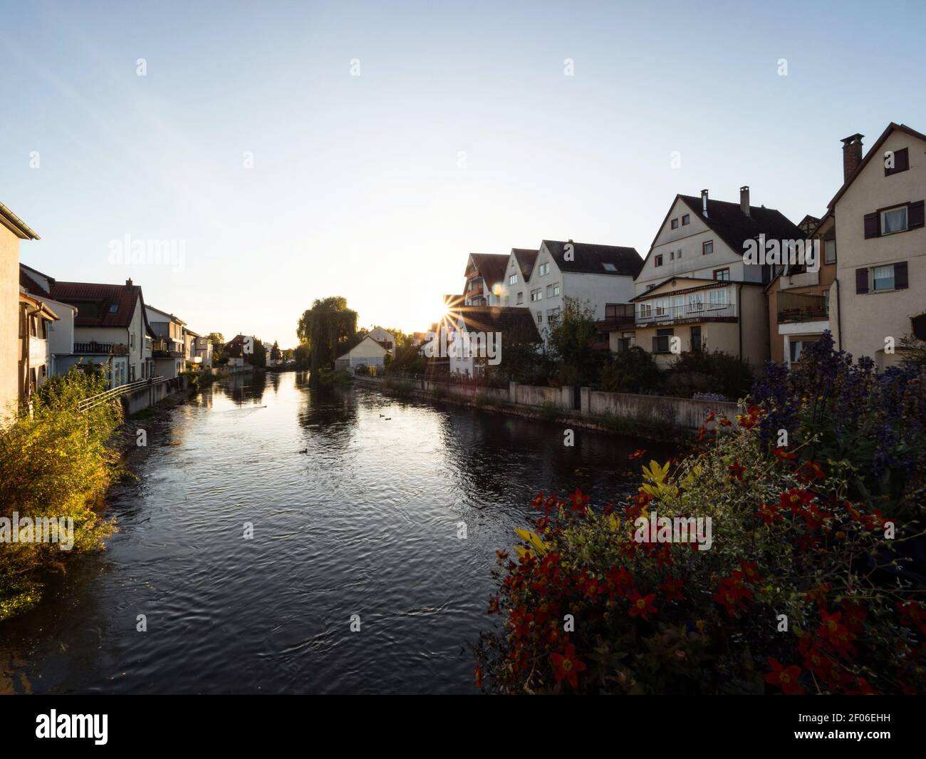 Sunset panorama of charming historic old town village city of Riedlingen at Danube river in Baden-Wuerttemberg Germany Europe Stock Photo