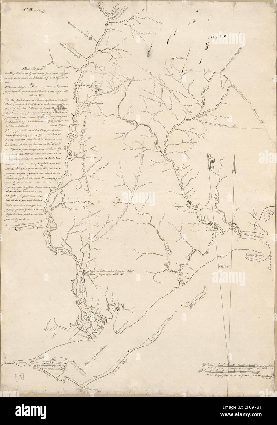 Plano borrador del Rio y Bahia de Apalachicola para mejor inteligencia de los partes dados en 29 de abril 6 y 8 de mayo de este año Stock Photo