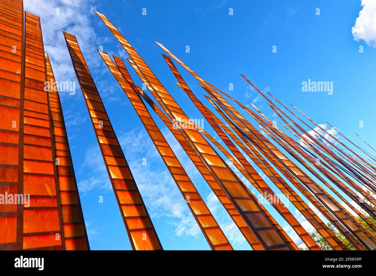 Seattle, Washington, USA, October 19, 2019: Sculpture Grass blades by John Fleming, exhibited as public work of contemporary art at the Seattle Center Stock Photo