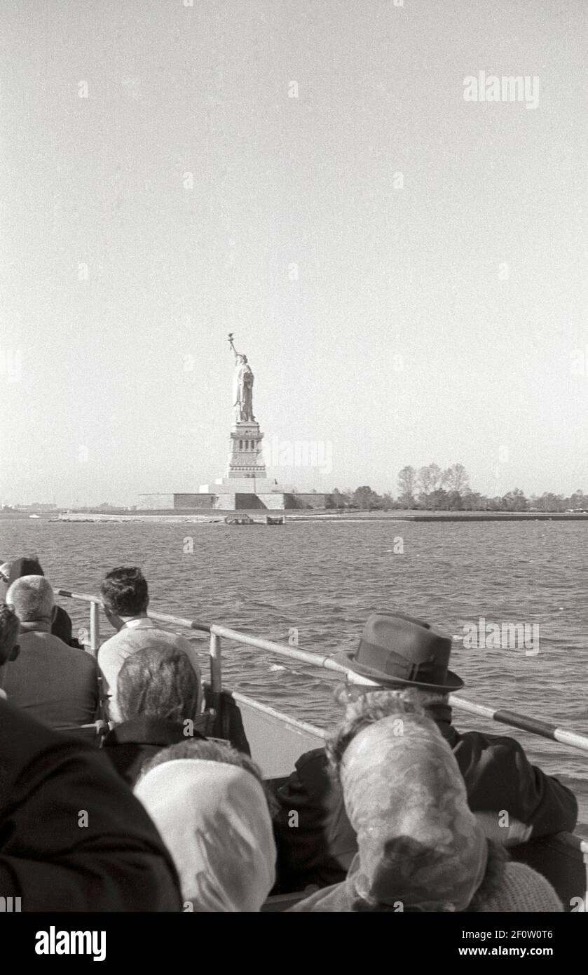 The Statue of Liberty as seen from a boat in NYC Harbor. New York City, USA, 1965 Stock Photo