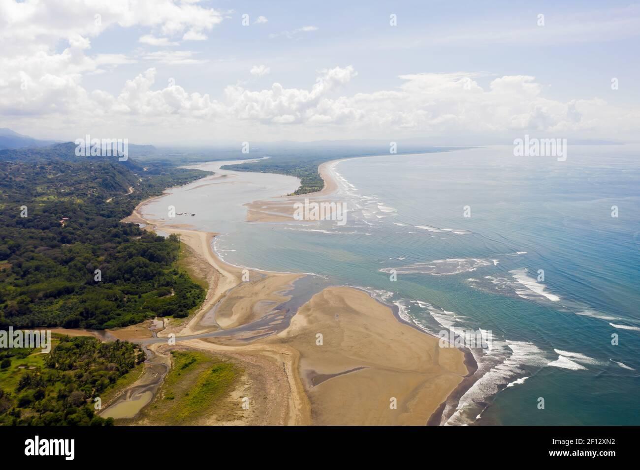 Landscape of beautiful exotic Tortuga beach and Terraba River in the southern Brunca region, Uvita, Costa Rica. Stock Photo