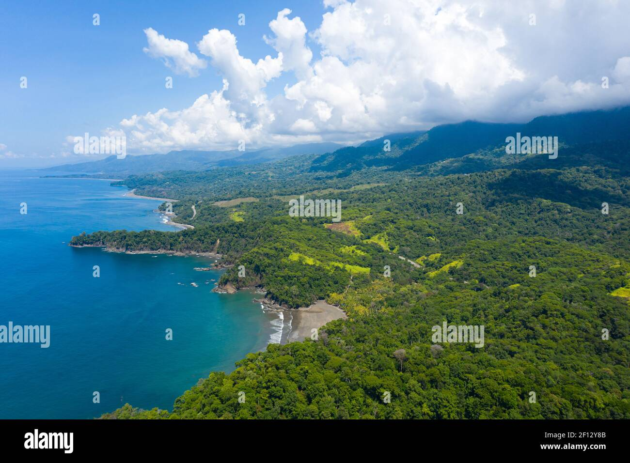 Landscape of a beautiful exotic Ventana beach located in the Costa Ballena, Uvita, South Pacific coast of Costa Rica. Stock Photo