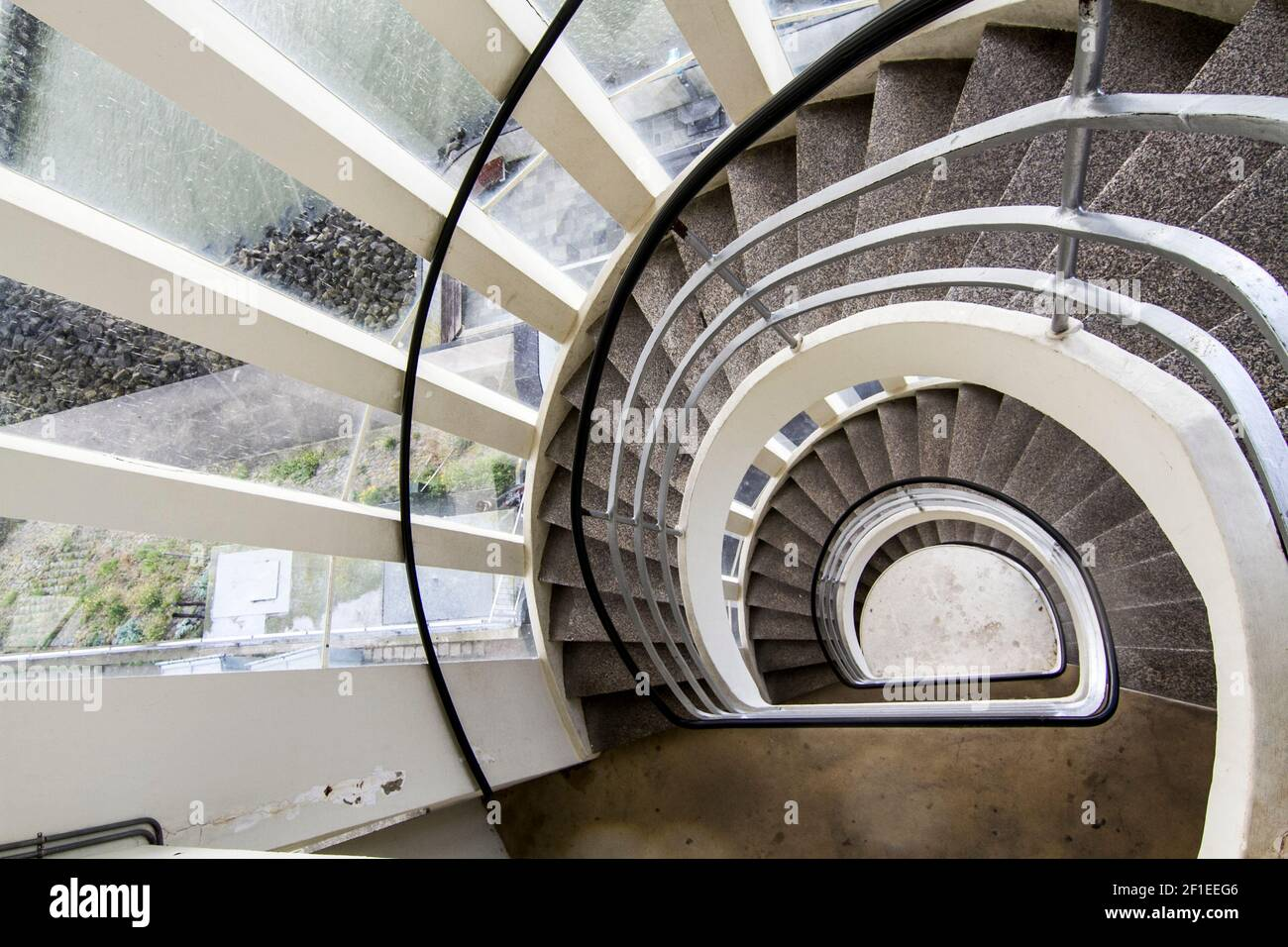 Diminishing point, infinite spiral staircase Stock Photo