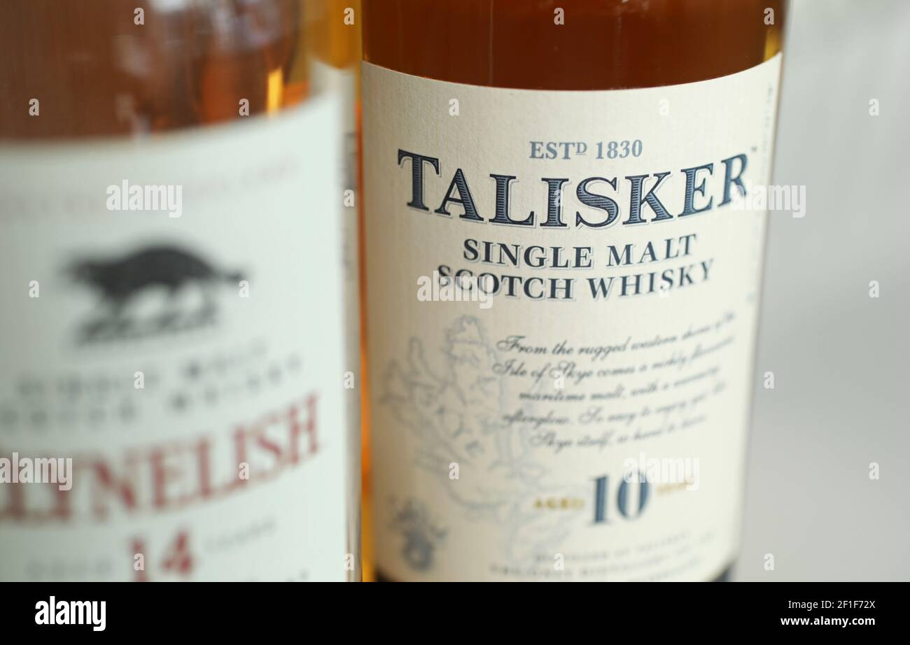 MOTALA, SWEDEN- 2 MARCH 2021: Talisker distillery is an island single malt Scotch whisky distillery based in Carbost, Scotland on the Minginish Peninsula on the Isle of Skye. Stock Photo