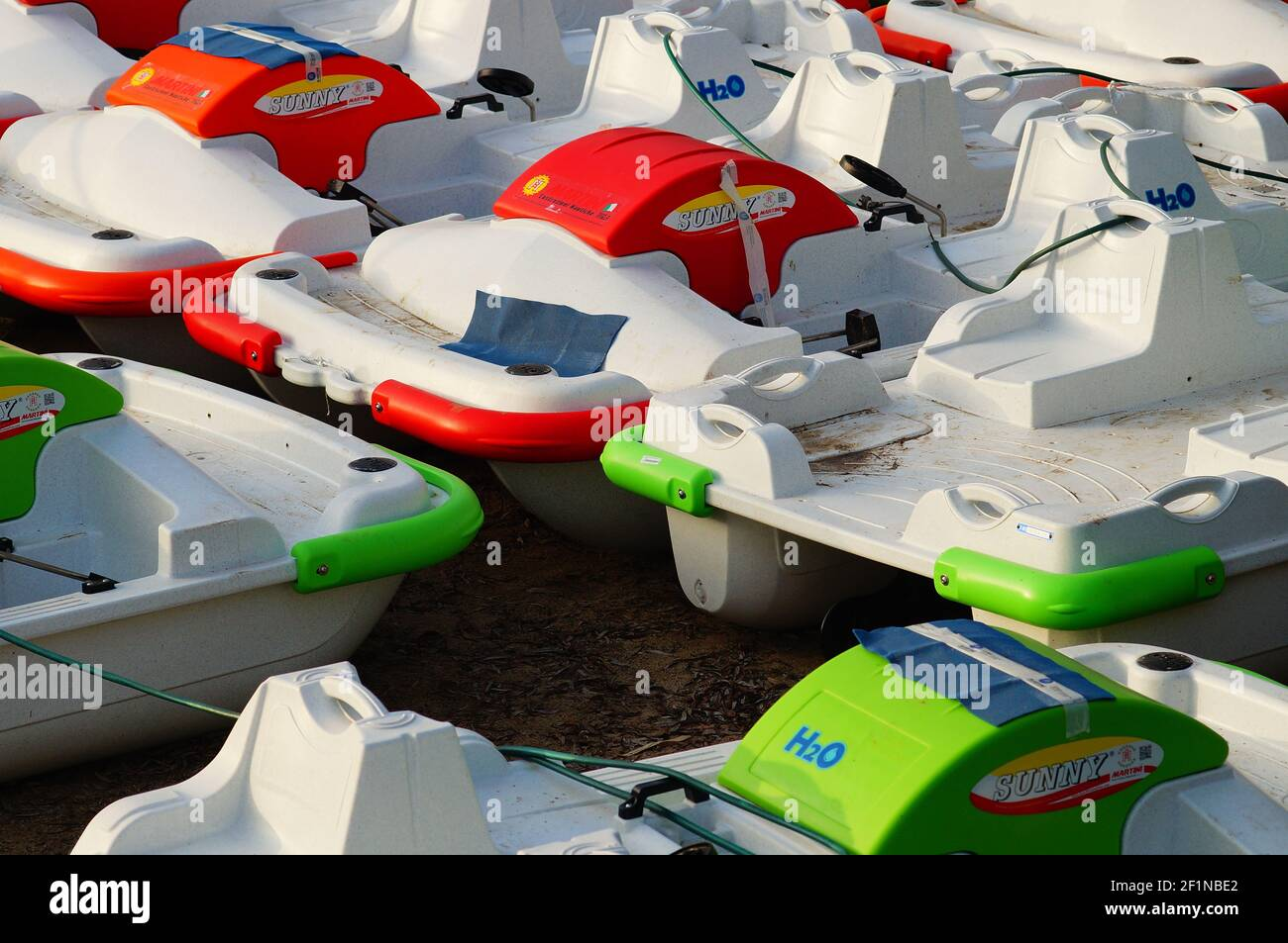 MARBURG, GERMANY - Mar 03, 2021: Pedal boats are ready for the season on the Lahn river in Marburg, Germany. In March 2021 it is still unclear how the Stock Photo