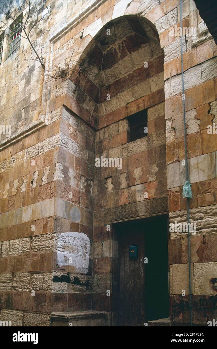 entrance portal of Arghuniyya madrasa, Jerusalem, Palestine Stock Photo