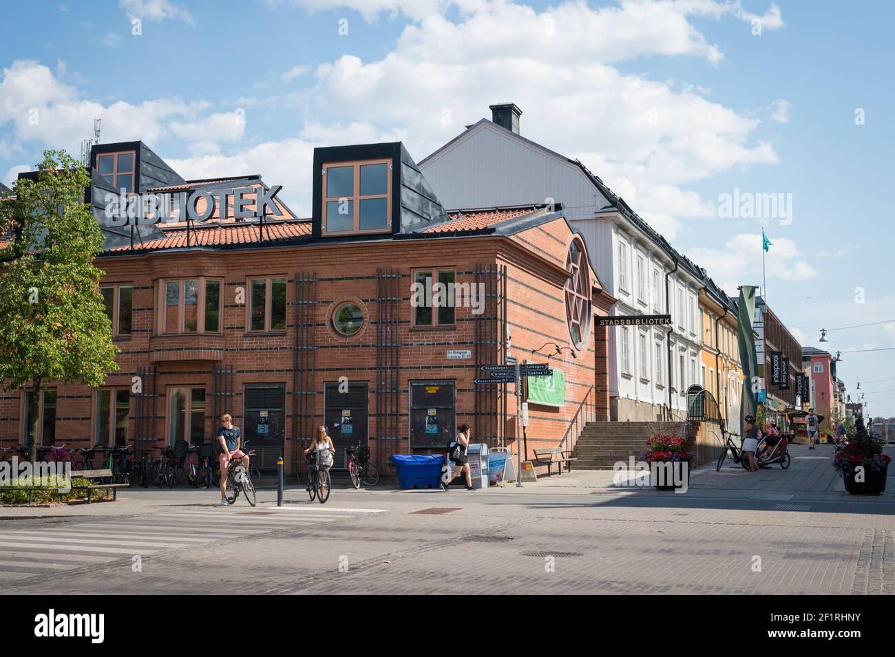 Stadsbiblioteket (City Library), Svartbäcksgatan, Uppsala, Sweden. Stock Photo