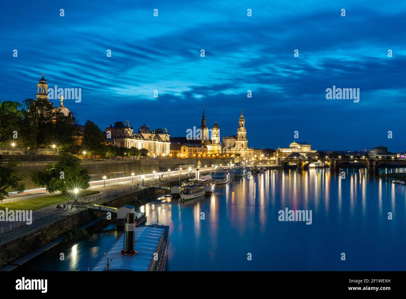 View of the Saxon capital city Dresden and the Elbe River at night Stock Photo