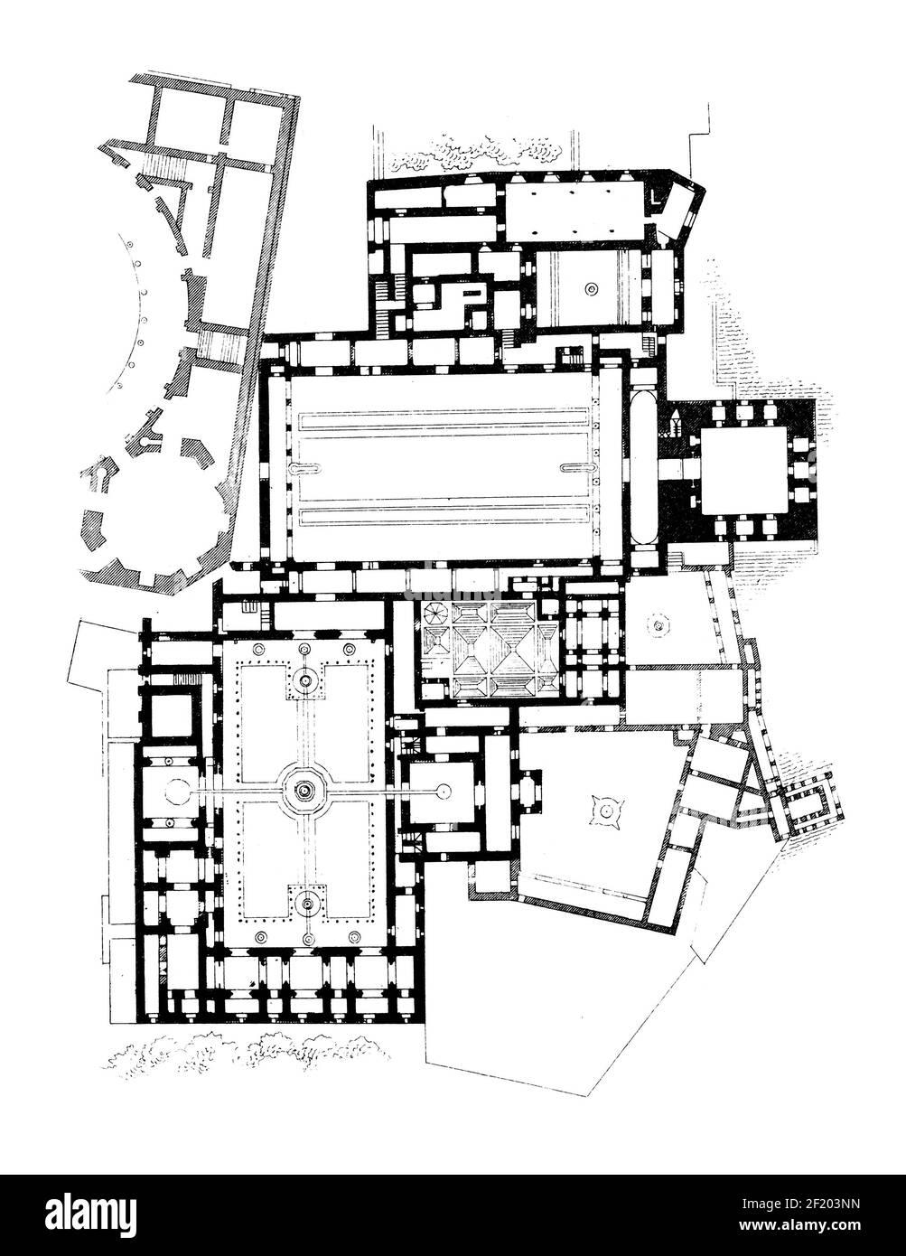 19th-century illustration of floor plan of Alhambra. Published in Systematischer Bilder-Atlas zum Conversations-Lexikon, Ikonographische Encyklopaedie Stock Photo